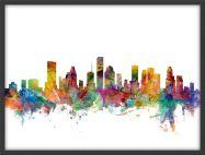 Medium Houston Texas Watercolour Skyline (Pinboard & wood frame - Black)