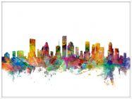 Large Houston Texas Watercolour Skyline (Wood Frame - White)