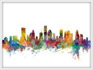 Medium Houston Texas Watercolour Skyline (Pinboard & wood frame - White)