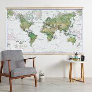 Huge World Wall Map Environmental White Ocean (Wooden hanging bars)