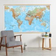 Huge World Wall Map Physical (Wooden hanging bars)
