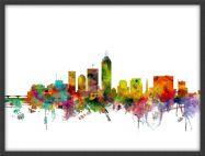Medium Indianapolis Indiana Watercolour Skyline (Wood Frame - Black)