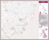 Ipswich Postcode Sector Map (Pinboard & framed - Silver)