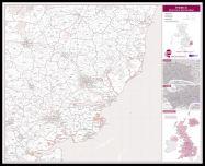 Ipswich Postcode Sector Map (Pinboard & framed - Black)