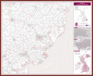 Ipswich Postcode Sector Map (Pinboard & framed - Dark Oak)