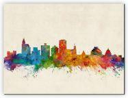 Huge Jackson Mississippi Watercolour Skyline (Canvas)