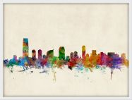 Small Jersey City New Jersey Watercolour Skyline (Wood Frame - White)