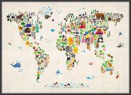 Large Kids Animal Map of the World (Pinboard & wood frame - Black)