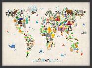 Medium Kids Animal Map of the World (Pinboard & wood frame - Black)