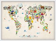 Small Kids Animal Map of the World (Wood Frame - White)