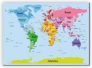 Huge Kids Big Text Map of the World (Canvas)
