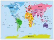 Large Kids Big Text Map of the World (Wood Frame - White)