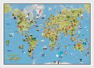 Kids Cartoon World Map (Pinboard & wood frame - White)