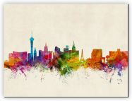 Small Las Vegas Nevada Watercolour Skyline (Canvas)