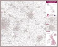 Leicester and Coventry Postcode Sector Map (Pinboard & framed - Silver)