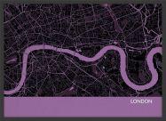 Small London City Street Map Print Mauve (Wood Frame - Black)