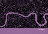 A3 London City Street Map Print Mauve (Matt Art Paper)