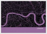 Small London City Street Map Print Mauve (Wood Frame - White)