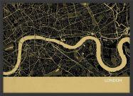 Small London City Street Map Print Straw (Wood Frame - Black)