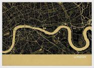 Small London City Street Map Print Straw (Wood Frame - White)