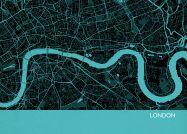 Small London City Street Map Print Turquoise (Matt Art Paper)