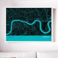 London City Street Map Print Turquoise