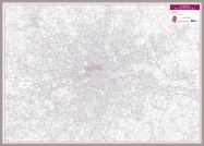 London Postcode District Wall Map (within M25) (Pinboard & framed - Silver)