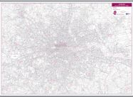 London Postcode District Wall Map (within M25) (Hanging bars)