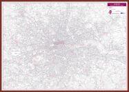 London Postcode District Wall Map (within M25) (Pinboard & framed - Dark Oak)