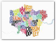 Large London UK Text Map (Canvas)