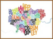 Large London UK Text Map (Pinboard & wood frame - Teak)