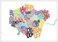 Large London UK Text Map (Wood Frame - White)