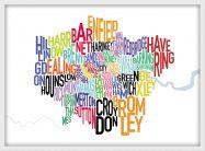 Medium London UK Text Map (Pinboard & wood frame - White)
