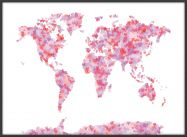 Large Love Hearts Map of the World (Pinboard & wood frame - Black)