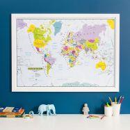 Glow in the Dark Children's World Map (Pinboard & wood frame - White)