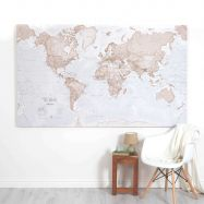Huge The World Is Art - Wall Map Neutral (Canvas)