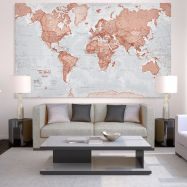 Huge The World Is Art - Wall Map Red (Canvas)