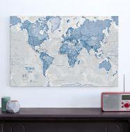 Medium The World Is Art - Wall Map Blue (Canvas)