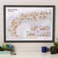 Scratch Off Alpine Climbs Print (Pinboard & wood frame - Black)