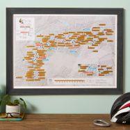 Scratch Off Alpine Cycling Print (Pinboard & wood frame - Black)