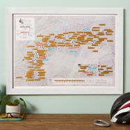 Scratch Off Alpine Cycling Print (Pinboard & wood frame - White)