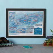 Scratch Off Alpine Skiing Print (Pinboard & wood frame - Black)