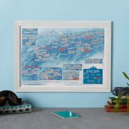 Scratch Off Alpine Skiing Print (Pinboard & wood frame - White)