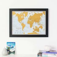 Scratch the World® travel edition map print (Pinboard & wood frame - Black)
