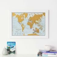 Scratch the World® travel edition map print (Pinboard & wood frame - White)