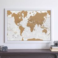 Scratch the World® - French Language (Pinboard & wood frame - White)