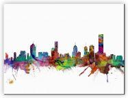 Huge Melbourne Australia Watercolour Skyline (Canvas)