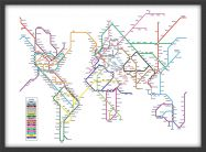 Small Metro Subway Map of the World  (Pinboard & wood frame - Black)