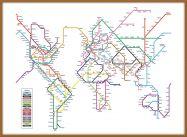 Large Metro Subway Map of the World  (Pinboard & wood frame - Teak)