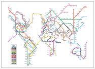 Large Metro Subway Map of the World  (Wood Frame - White)